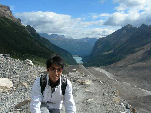 Me at the official end of Plain of Six Glaciers. Lake Louise behind