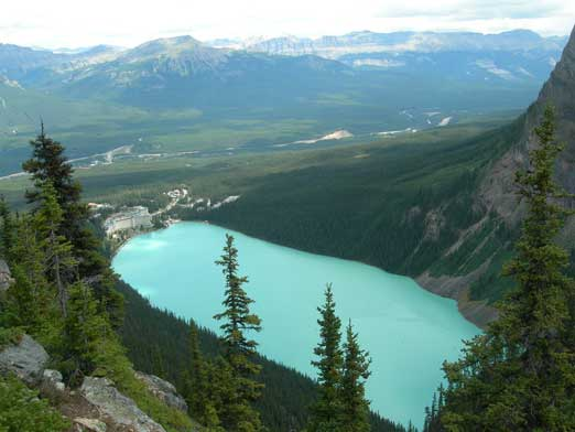 Lake Louise seen from summit of Big Beehive