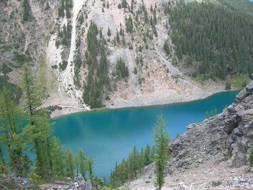Lake Agnes shows some different colour than Lake Louise