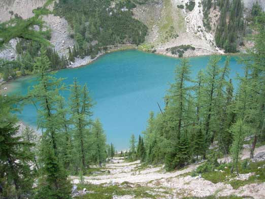 Lake Agnes, and the steep trail descending to the lake level