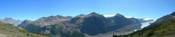Panorama view of Mount Saskatchewan area. Big Ben Peak and Sask. Junior in foreground