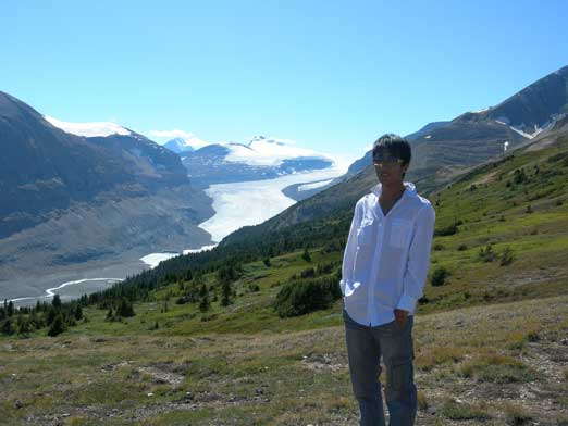Me with Saskatchewan Glacier behind
