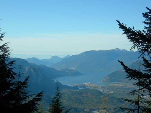 Howe Sound seen from a mini viewpoint along the trail