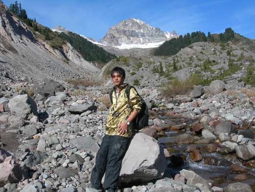 Me at the creek bed. Atwell Peak behind