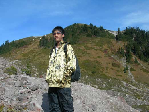 Me with the innocent looking Opal Cone's slope behind.