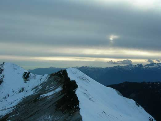 Looking over the false summit of Columnar. Its true summit is on the far left of this photo.