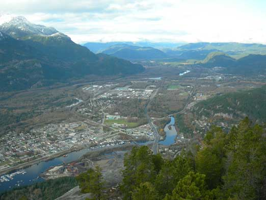 Looking down at Squamish