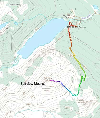 Fairview Mountain standard scramble route