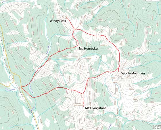 The Livingstone 4-peak traverse route