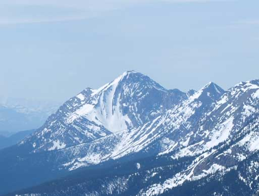 Zooming-in towards Center Peak, the highest in Livingstone Range