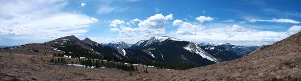 Panorama from partway up. The two summits are on left