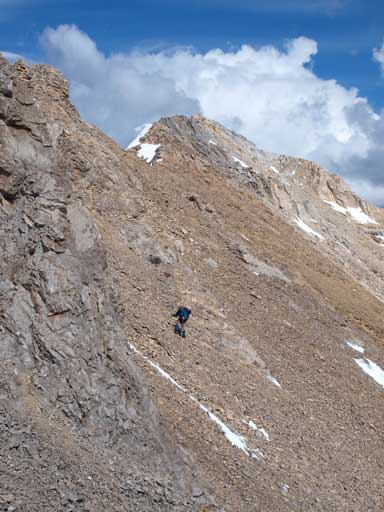 Ben traversing scree slope