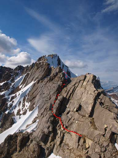 After traversing an exposed ledge over an impossible pinnacle, this was what I saw... More and more . Red line shows my route