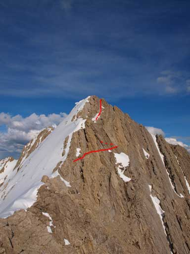 Looking back at the (second) false peak where Eric and Ben turned around. It's steeper than it looks, and red line shows the route I took.