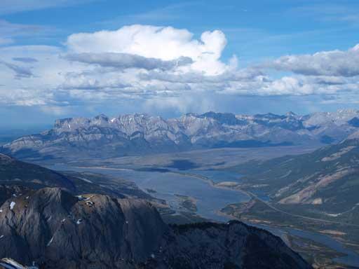 Miette Range rises behind Jasper & Talbot Lakes