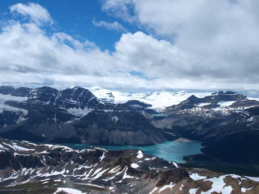 Nice view towards Bow Lake and Wapta Icefield