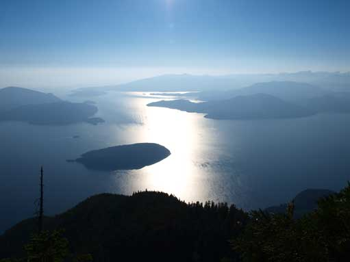 At the summit, looking down to Howe Sound.