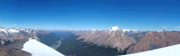 Summit view looking at Sunwapta Valley & Sunwapta Peak (right of center)
