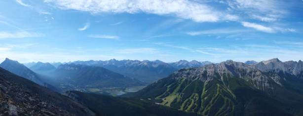 Panorama view towards Bow Valley and Norquay ski area.