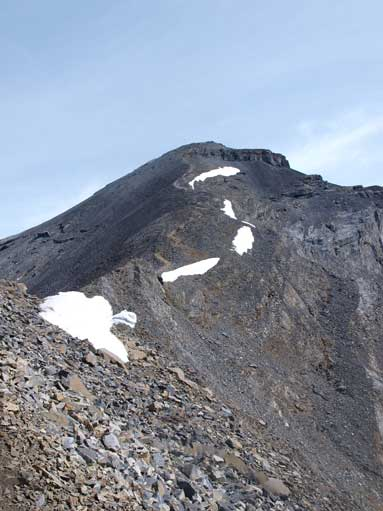 The summit ridge comes into view