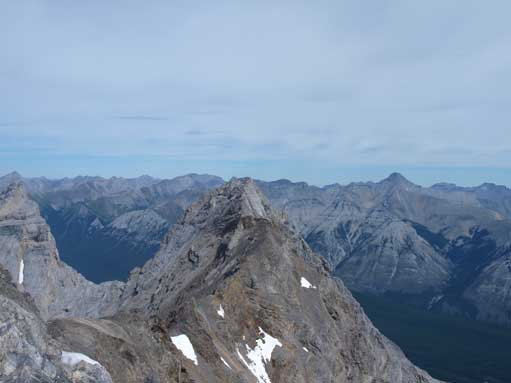 Mount Aylmer is the tall mountain on right skyline. The pointy peak in foreground is another peak of Cascade Mountain