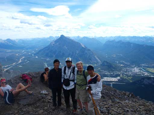 Group shot near the crux. Rundle behind