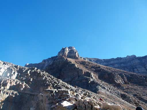 Looking up the broad gully (climber's right of ridge crest) from Sentinel Pass