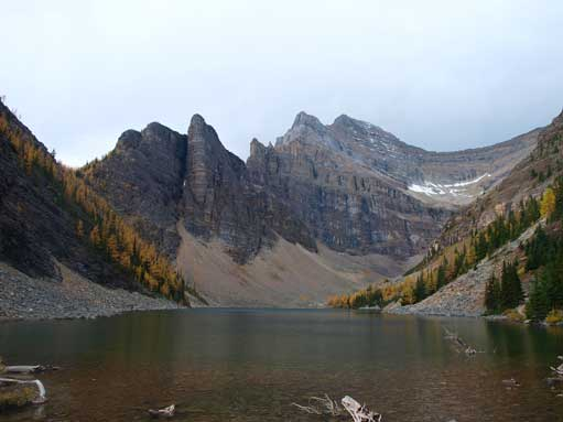 Lake Agnes. Devil's Thumb and Mount Whyte behind