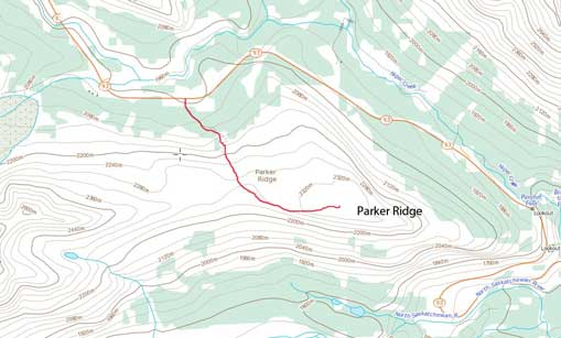 Parker Ridge hiking route