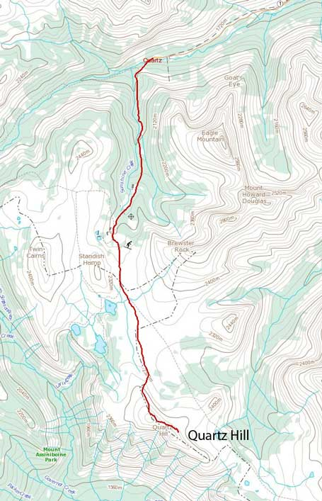 Quartz Hill ski ascent route from Sunshine Village