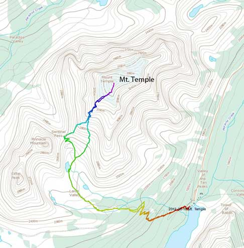Mt. Temple standard scramble route