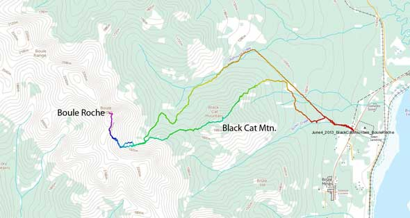 Black Cat Mountain to Boule Roche ascent route