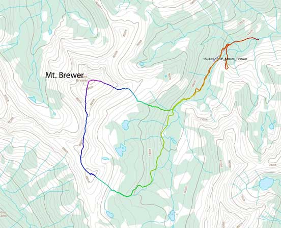 Mt. Brewer scramble route