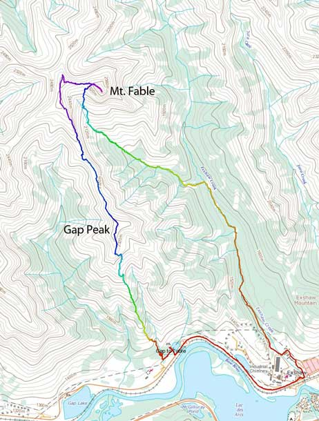 Gap Peak to Mt. Fable traverse route