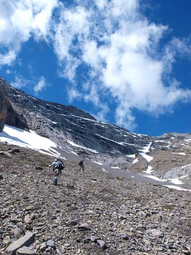 Scree slog, the theme of this ascent once out of the trees