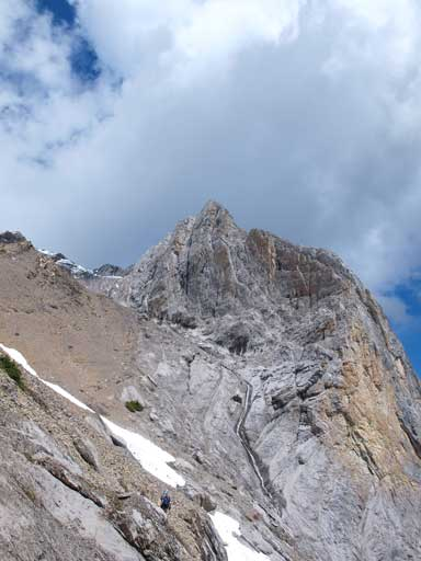 The rest of the slog (left) and the rock buttress (right)