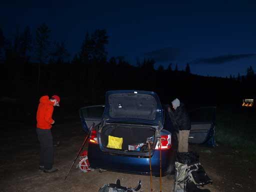 Gearing up in dark