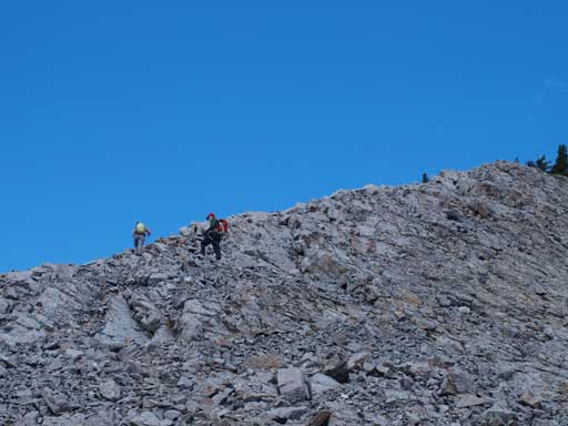 And it's easy scrambling to get up the false summit