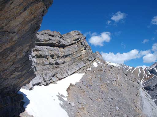I traversed on this scree ledge to avoid the ridge crest at one point