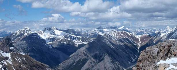 The two summits of Charles Stewart on left; Peechee right of center. Aylmer on the far right.