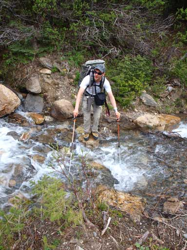 Ben ready to jump the first creek.