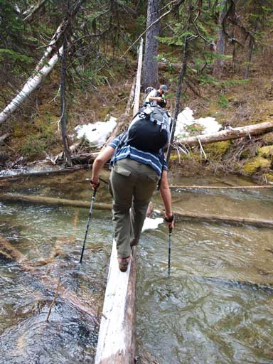 Eric's turn to balance over this slippery log