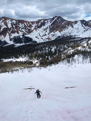 Eric going up the snow slope