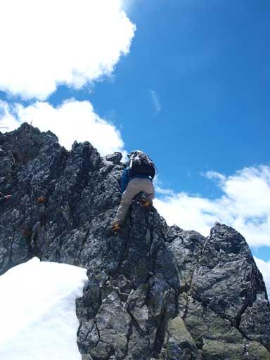 Ben down-climbing the difficult bit