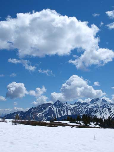 Clouds above unnamed peaks on Septet Range
