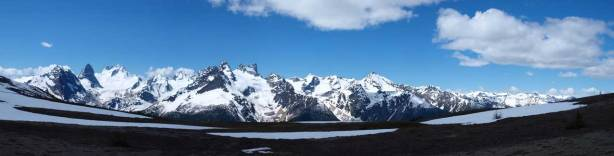 Panorama of Bugaboos and the Vowells from just topping out on the ridge