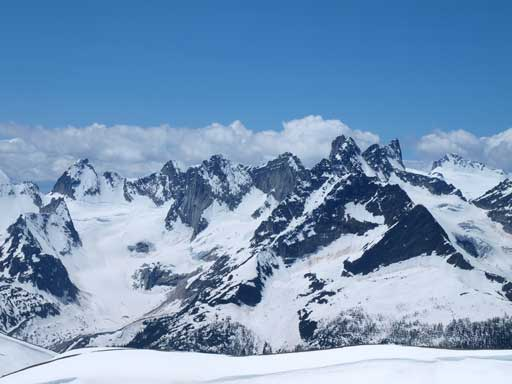 The group of Spires north of the popular Bugaboo region