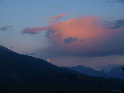 Moonrise on the drive up Pyramid Lake Road