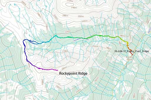 Rockypoint Ridge hiking route