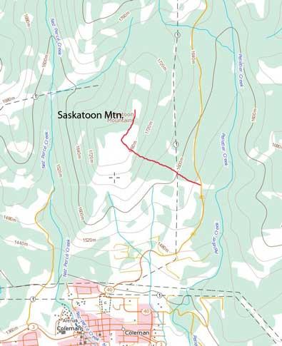 Saskatoon Mountain hiking route